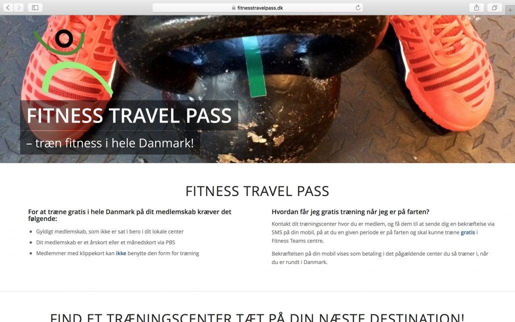 Skærmbillede af Fitnesstravelpass.dk